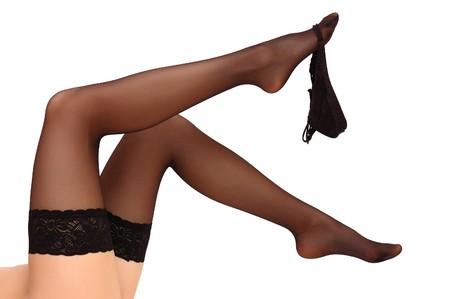 Beautiful woman legs in stockings Stock Photo