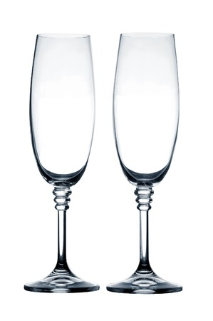 Empty champagne glass on white background Stock Photo