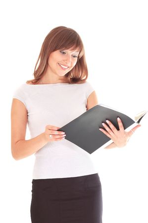 Beautiful smiling secretary with folder