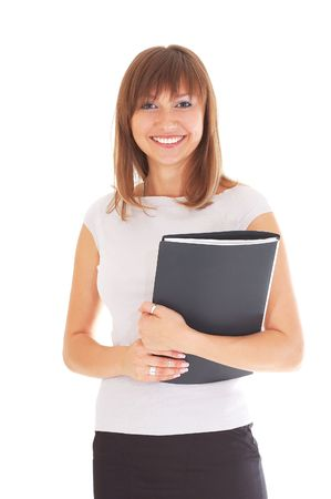 Beautiful secretary with folder isolated on white background