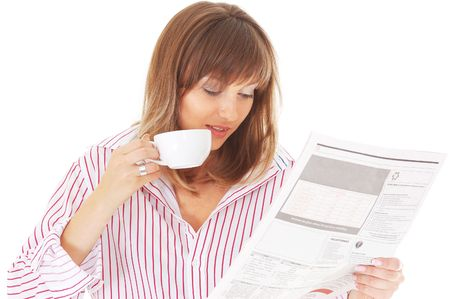 Woman with cup and newspaper isolated on white background Stock Photo