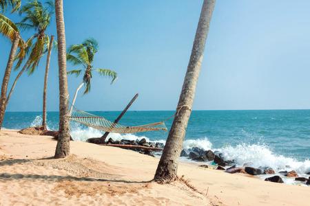 alappuzha: Hammock on Tropical Beach Stock Photo