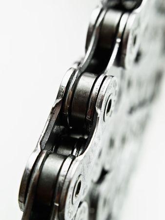 fietsketting: gestapelde fiets keten macro, kan over witte achtergrond, kracht, eenheid voorstellen...