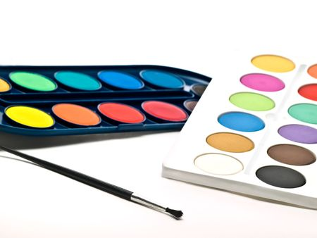 watercolor swatches with brush , over white background photo