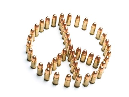 peace symbol formed by bullets over white background, useful for themes such as peace,war,terrorism,military..