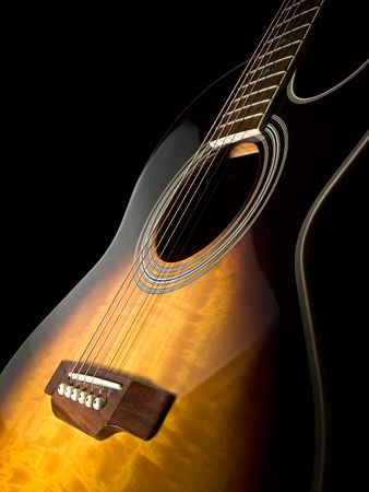 acoustic guitar over black background , closeup shot