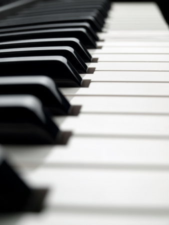 piano keyboard , image taken from low angle, shallow DOF Stock Photo