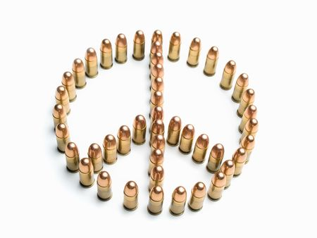 treaty: peace symbol formed by bullets over white background, useful for  peace,war,terrorism,military and similar themes