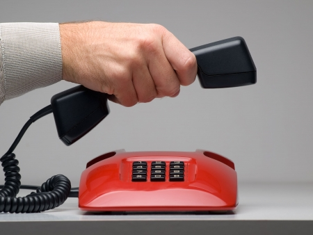 man making or ending the call, for customer services,emergency or other communication related themes 版權商用圖片 - 7946004