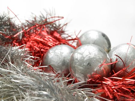 Christmas decoration balls over white background, closeup, for various christmass related themes and backgrounds