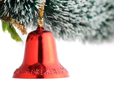 Red Christmas bell hanging on the tree,closeup shallow DOF,for various christmas related themes
