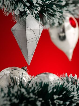 christmas decoration detail,selective focus, red background 版權商用圖片
