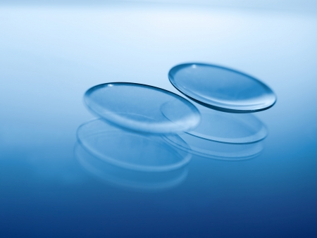 Contact lenses , selective focus and blue toned, for eyesight themes Stock Photo