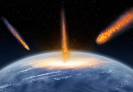 end of the world: Meteors falling on the Earth,for astronomy,ecology,life themes Stock Photo