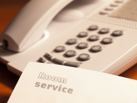 requesting: room service print on the sheet of paper  with the telephone, for hotel service,customer service
