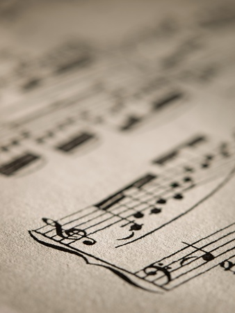 Sheet of music notes,closeup, for music,melody themes Stock Photo