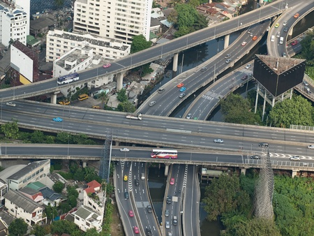 bangkok city: City highways,high angle view image, useful for urban living,traffic,stress or pollution related themes, Bangkok,Thailand, SE Asia