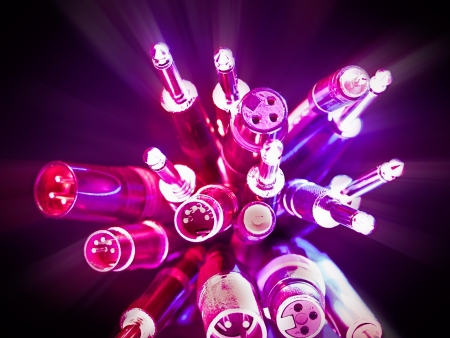 bunch of various audio cables with glow effect,for audio,wiring or connection themes Stock Photo