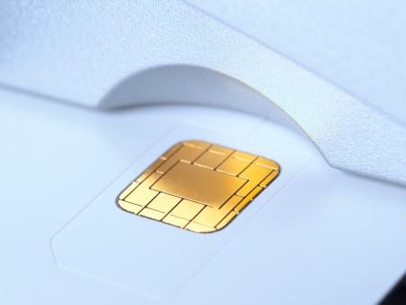 decoding: Chip card in the card reader slot, for banking,security,money ,decoding themes