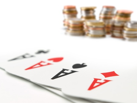 four aces with the money coins in the background, for gambling,money,risk themes 版權商用圖片 - 13655758