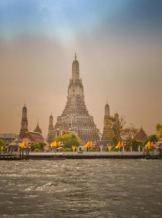 chao phraya river: Wat Arun temple on the shore of Chao Phraya river,HDR, Bangkok,Thailand,South-East Asia Stock Photo