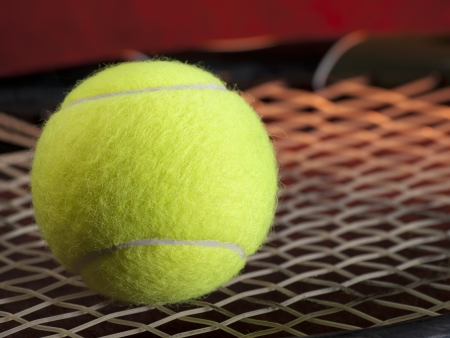 Tennis ball on the racquet  closeup, for tennis,recreation and sport themes
