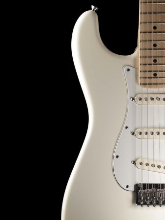 fender stratocaster: white electric guitar body,closeup over black background, for music and entertainment themes Stock Photo
