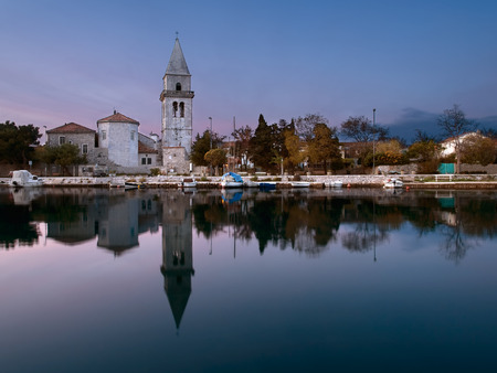 Old mediterranean town Osor at dusk , Losinj,Croatia, Adriatic sea