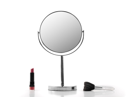 Mirror, Lipstick and brush over white backround, for fashion and beauty themes 版權商用圖片