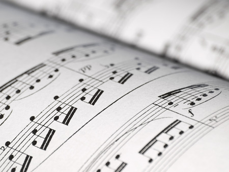 closeup of music notes on the sheet, shallow DOF