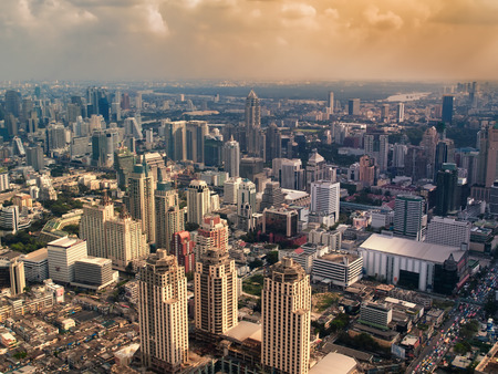 Hazy city in the sunset , Bangkok ,Thailand,  HDR image