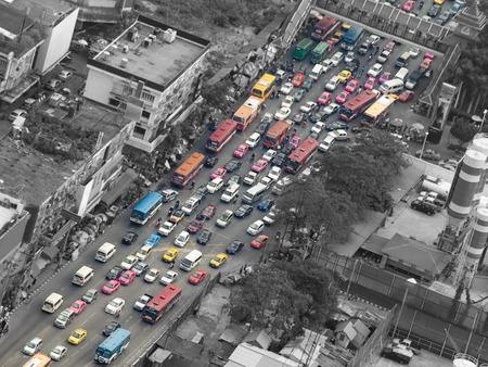 交通渋滞、バンコク、タイ、アジア、汚染、交通、都市生活のテーマ 写真素材