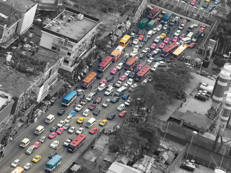 Verkeersopstopping, Bangkok, Thailand, Azië, voor vervuiling, verkeer, stadsleven thema
