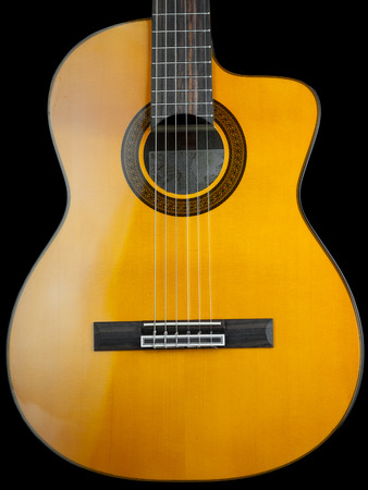 Classical guitar over black background, for music,entertainment themes