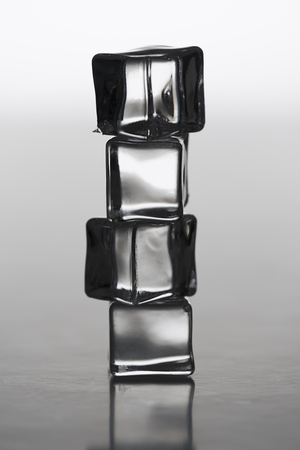 Clear stacked ice cubes, backlit,for cold, winter related themes