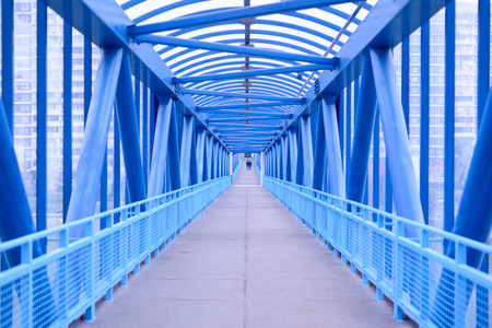 pedestrian bridge: Blue pedestrian bridge perspective