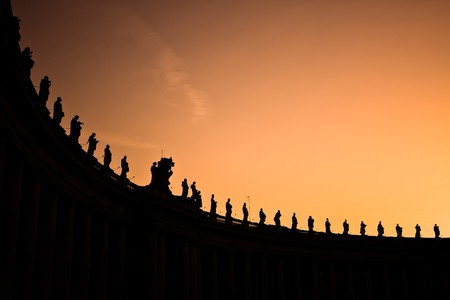 Series of statues on the top of the Vatican square.