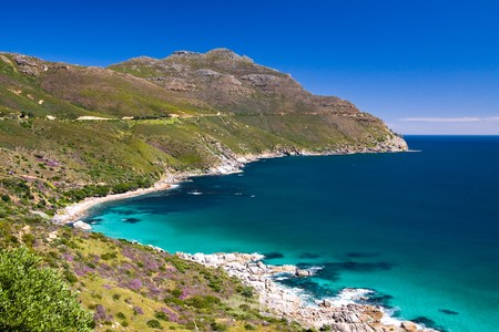 Chapmans Peak Drive sightseeing road close to the Cape Town in South African Republic.