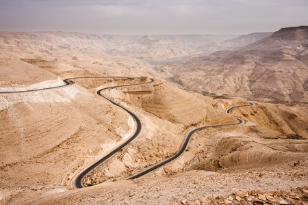 Massive canyon in the Jordan desert with the Kings Highway