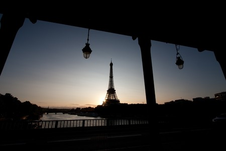Early morning with the Eiffel tower in the sunset. Stock Photo - 7798687