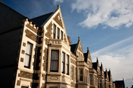 Common architecture in England, photo taken in Cardiff, UK.