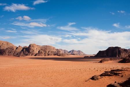 Narrow view of mountains and desert in Wadi Rum, Jordan.
