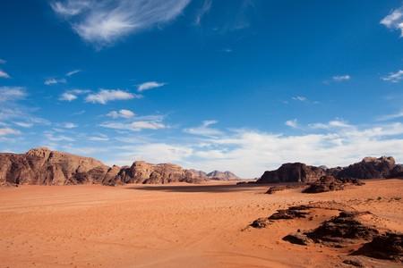 Wide view of mountains and desert in Wadi Rum, Jordan.