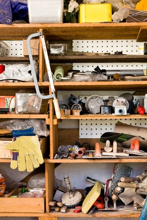 Shelves with various tools and equipment, do it yourself,