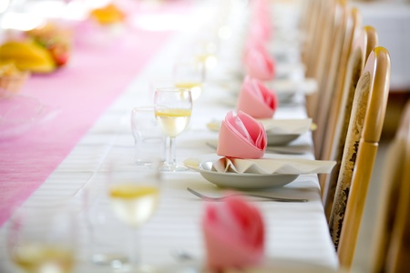 Reception or wedding table ready, horizontal view, copy space