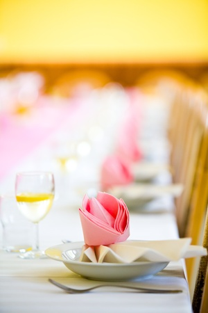 dine: Reception or wedding table ready, close focus, copy space Stock Photo