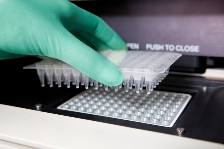 Green gloves, Thermal PCR cycler, DNA copying, close shot Stock Photo