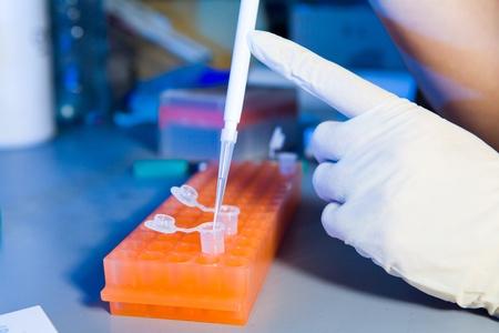 Scientist versare liquido nella provetta usando pipetta Archivio Fotografico