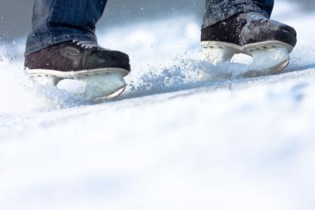 speed skating: Breaking ice skates, plenty of copy space