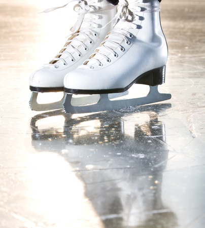 Dramatic natural portrait shot of ice skates photo